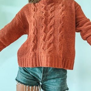 American Eagle Burnt Orange Cable Sweater